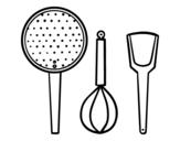 Desenho de O utensílios de cozinha para colorear