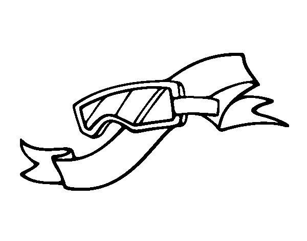 Desenho de Óculos para esquiar para Colorir