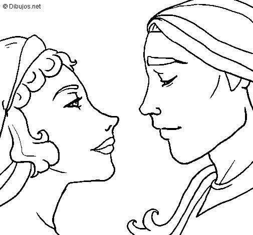 Desenho de Olhe para namorados para Colorir