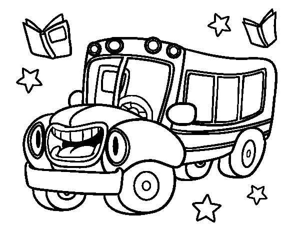Desenho de Ônibus animado para Colorir