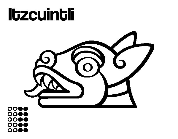 Desenho de Os dias astecas: cão Itzcuintli para Colorir
