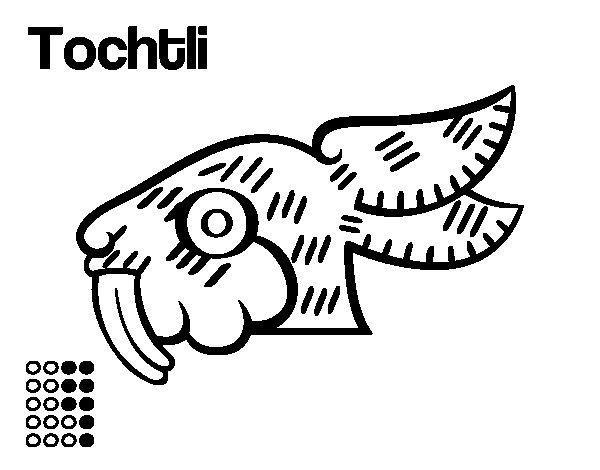 Desenho de Os dias astecas: coelho Tochtli para Colorir