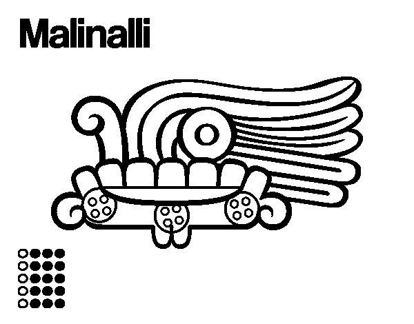 Desenho de Os dias astecas: grama Malinalli para Colorir