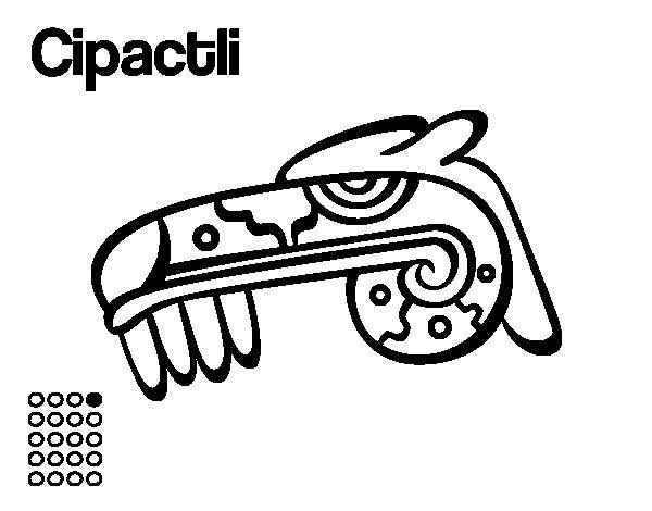 Desenho de Os dias astecas: jacaré Cipactli para Colorir