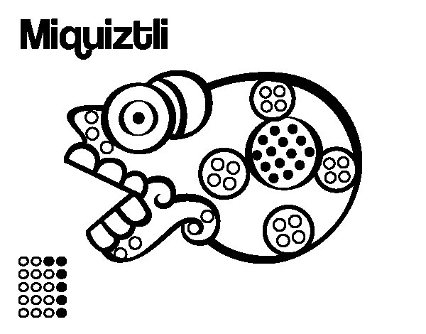 Desenho de Os dias astecas: morte Miquiztli para Colorir