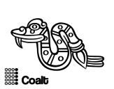 Desenho de Os dias astecas: serpente Coatl para colorear