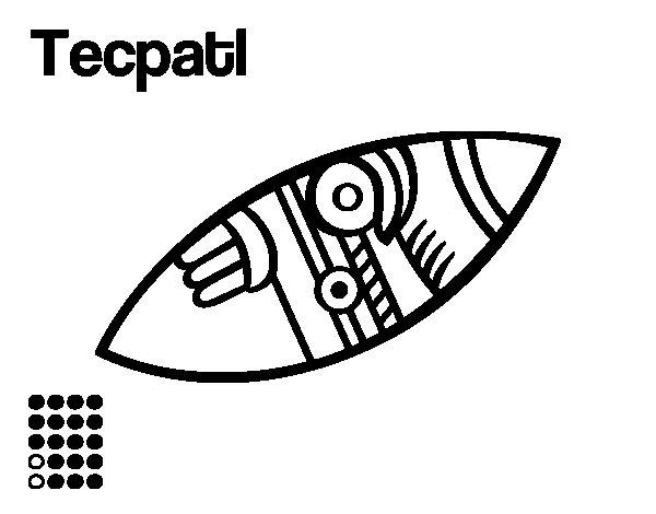 Desenho de Os dias astecas: sílex Tecpatl para Colorir