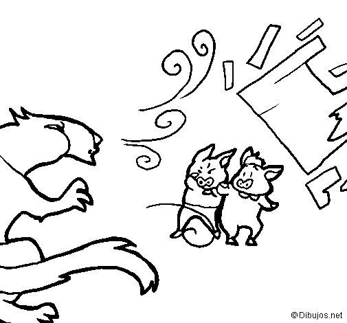 Desenho de Os três porquinhos 9 para Colorir