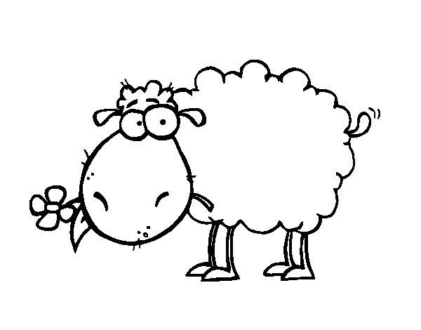 Desenho de Ovelha com flor para Colorir