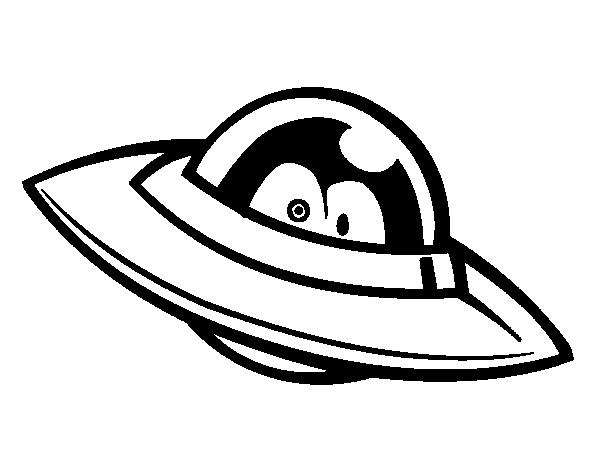 Desenho de Ovni com olhos para Colorir
