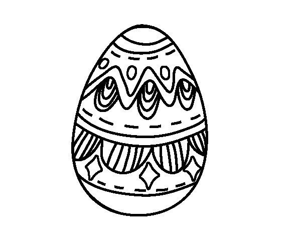 Desenho de Ovo da páscoa com diamantes para Colorir