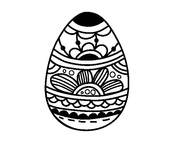 Desenho de Ovo da Páscoa com estampa floral para Colorir