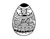 Desenho de Ovo da Páscoa com estampa floral para colorear