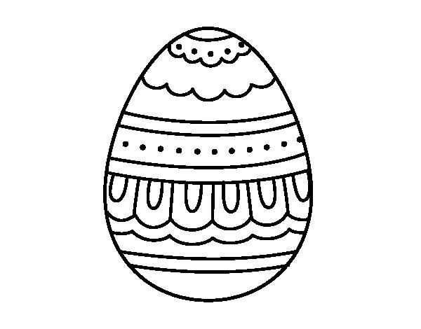 Desenho De Ovo De Páscoa Branco E Preto Para Colorir