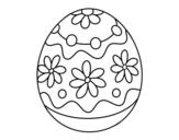 Desenho de Ovo de páscoa caseiro com flores para colorear