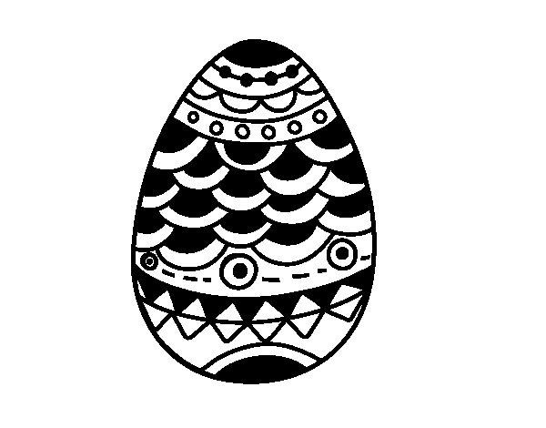 Desenho de Ovo de Páscoa de estilo japonês para Colorir