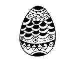 Desenho de Ovo de Páscoa de estilo japonês para colorear