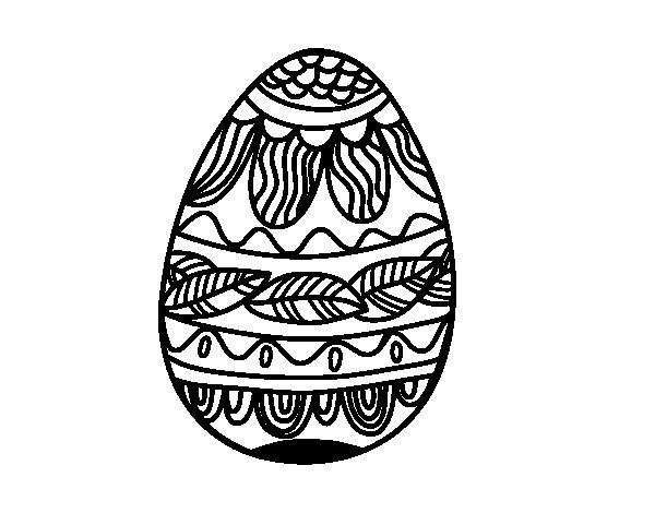 Desenho de Ovo de Páscoacom teste padrão vegetal para Colorir