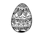 Desenho de Ovo de Páscoacom teste padrão vegetal para colorear