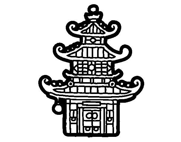 Desenho de Pagode chinesa para Colorir