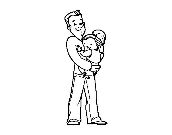 Desenho De Pai E Filha Para Colorir