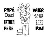 Desenho de Pai e filho com o chapéu para colorear
