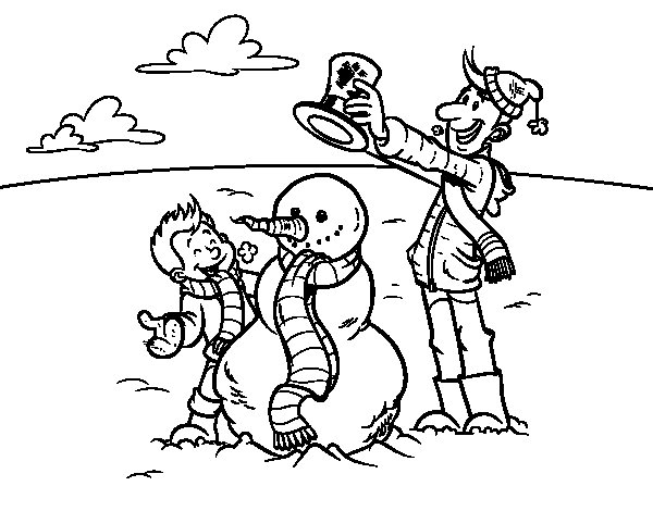 Desenho de Pai e filho na neve para Colorir