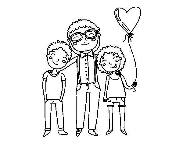 Desenho De Pai E Filhos Para Colorir