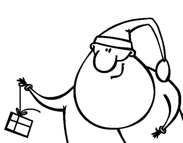 Desenho de Pai Natal com un presente para Colorir