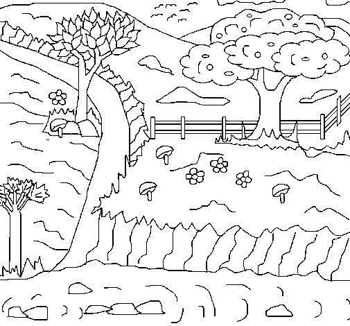 Desenho de Paisagem rural para Colorir