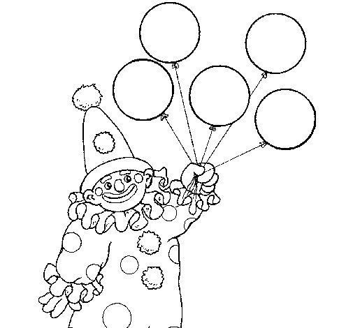 Desenho de Palhaço com balões para Colorir