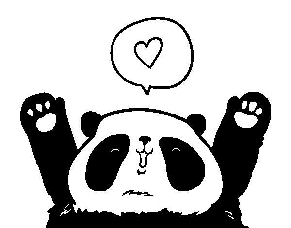 Desenho de Panda amor para Colorir