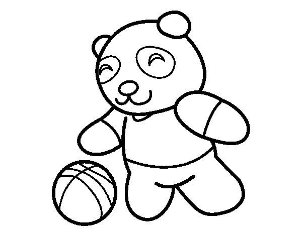 Desenho de Panda com bola para Colorir