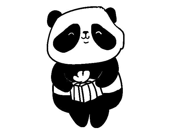 Desenho de Panda com presente para Colorir