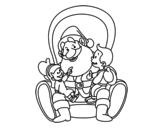 Desenho de Papai Noel com crianças para colorear