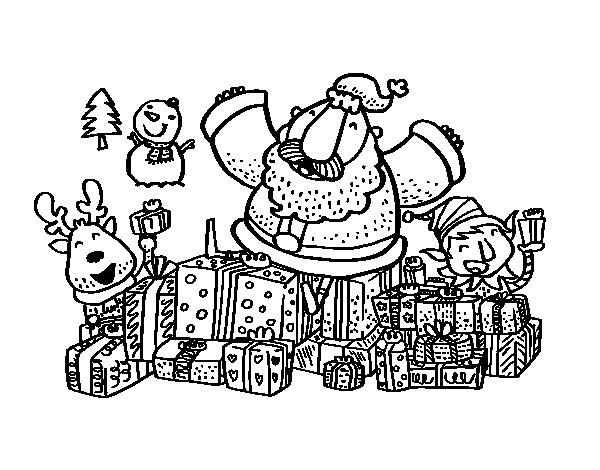Desenho de Papai Noel com presentes e alegria para Colorir