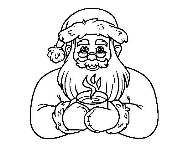 Desenho de Papai Noel com xícara de café para Colorir