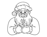 Desenho de Papai Noel com xícara de café para colorear