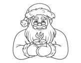 Dibujo de Papai Noel com xícara de café