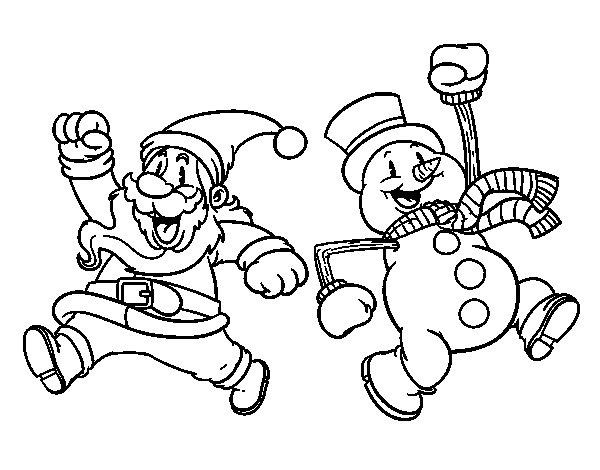 Desenho de Papai Noel e boneco de neve de salto para Colorir