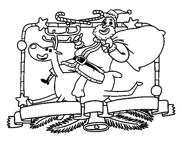 Desenho de Papai Noel e rena de Natal para Colorir