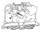 Dibujo de Papai Noel e rena de Natal