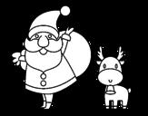 Desenho de Papai Noel e um rena para colorear
