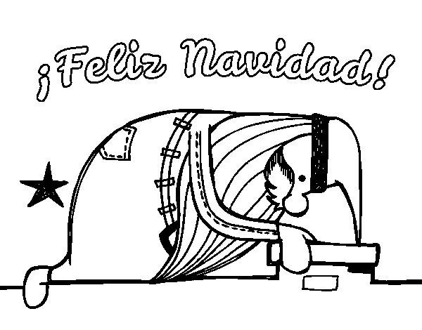 Desenho de Papai Noel que olha para fora da lareira para Colorir