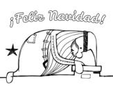 Desenho de Papai Noel que olha para fora da lareira para colorear