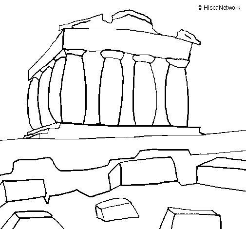 Desenho de Partenon para Colorir