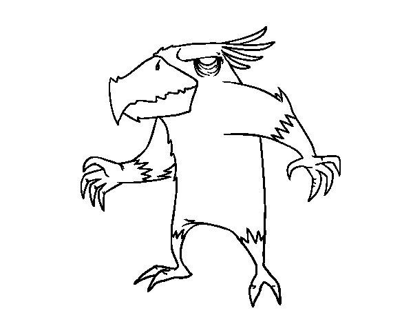 Desenho de Pássaro monstro maligno para Colorir