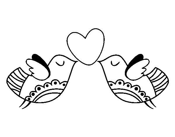 Desenho de Pássaros com coração para Colorir