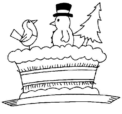 Desenho de Pastel com bonecos para Colorir