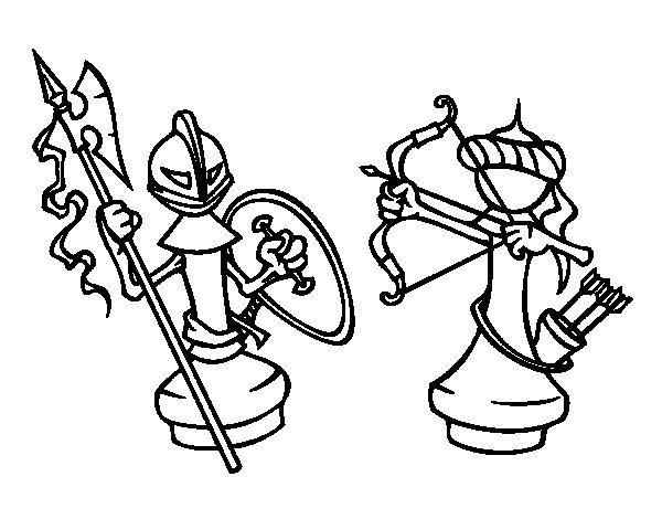 Desenho de Peças de xadrez para Colorir